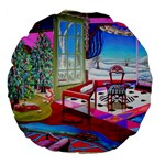 Christmas Ornaments and Gifts Large 18  Premium Flano Round Cushion  from Sharon Tatem Fashions LLC Fashion Wearable Art Dresses, Tops, Skirts, Swim Suits, Beach Bags, Art Prints Front